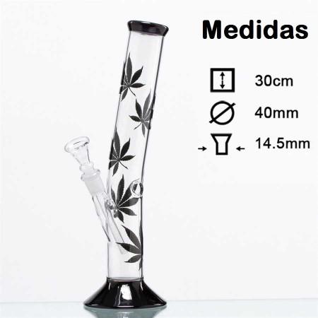 Bong cristal con hojas cannabis
