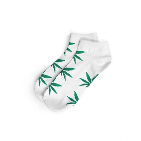 Calcetines blanco/verde corto mujer